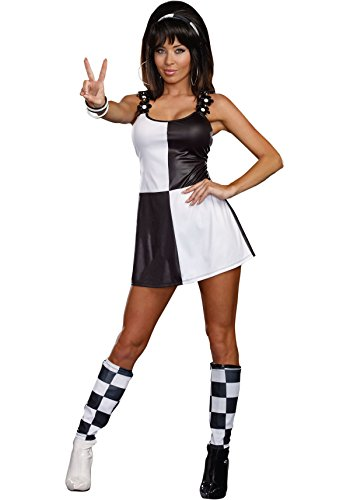 Dreamgirl Women's Yeah Baby! 60's Mod Costume, Black/White, X-Large
