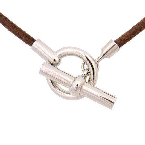Einzigartige echte Lederschur und Edelstahl Halskette Frauen Kette (Walnuss braun)
