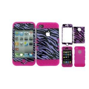 BUMPER CASE FOR IPHONE 4 SOFT HOT PINK SKIN HARD TRANS PURPLE ZEBRA COVER ()