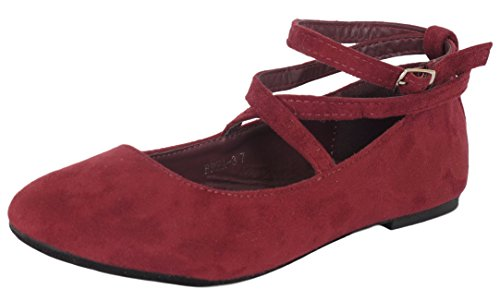 Top Moda Women's Brea-3 Strappy Ballet Flat 6.5 Wine
