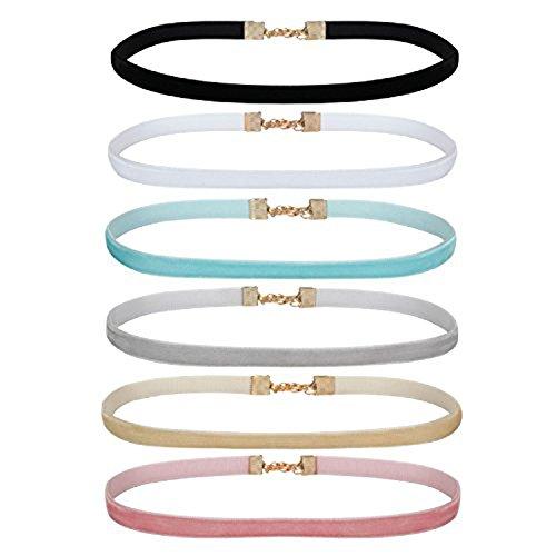 Women's Jewelry Gothic Vintage Choker Velvet Ribbon Collar Set 6PC Ribbon Adjustable Neck Charm Necklace (Light Color Set)