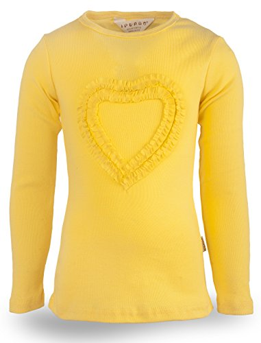 Ipuang Big Girls' Heart-Shaped Long Sleeve T-Shirt 7 Yellow by Ipuang