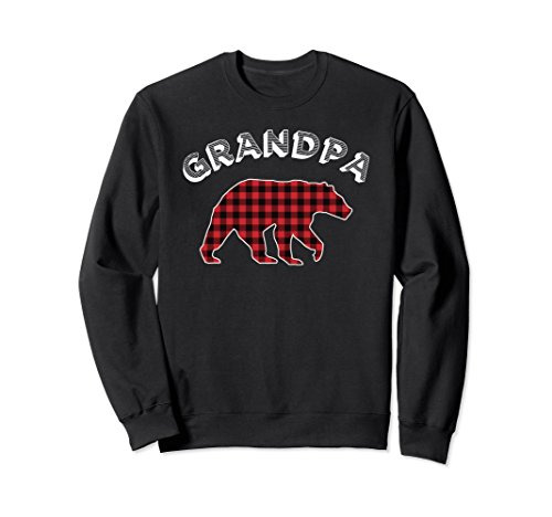 - Unisex Grandpa Bear Red Checkered Plaid Bear Shirt For Grandfather Large Black