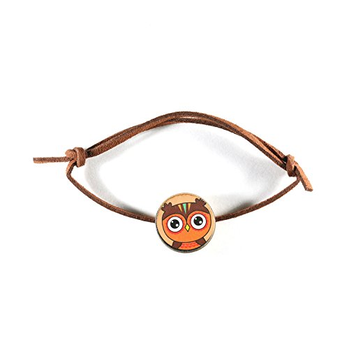RedCube Owl Charm Lucky Bracelet Faux Suede Cord Wooden Totem Animal Pendant Wristband ()