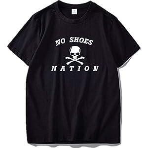 No Shoes Nation Shirt Men Letter Skull Personality T Shirt Cotton Crew Neck Causal Tshirt,Black,S