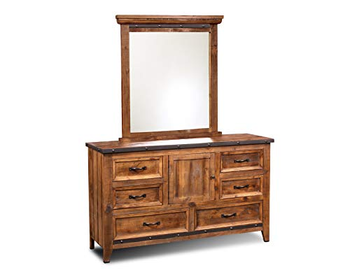 Sunset Trading HH-4365-31-32 Rustic City Dresser and Mirror, Industrial Metal Accents, Natural Oak