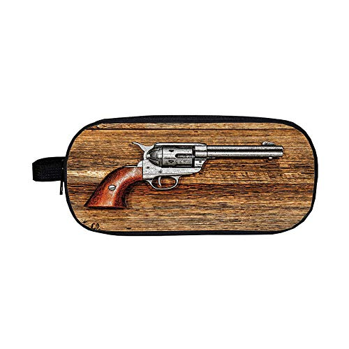 iPrint Pencil case Polychromatic Optional,Western,Old Style Revolver Antique Six Shooter Weapon on Aged Wooden Board Image,Brown Grey,3D Print Design