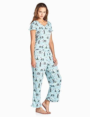 BHPJ By Bedhead Pajamas Women s Fitted Soft Knit Ruffle Short Sleeve Capri  Pajama Set e570587c4