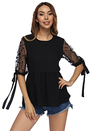 YANDW Women Tie Cuff Sleeve Peplum Blouse Keyhole Button Neck Tops Lace Patchwork Shirts