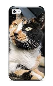 Defender Case For Iphone 5c, Orange And Black Cat Looking U Pattern