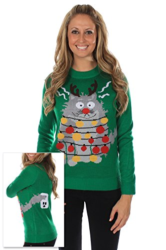 Women's Ugly Christmas Sweater - The Electrocuted Cat Sweater Green Size M