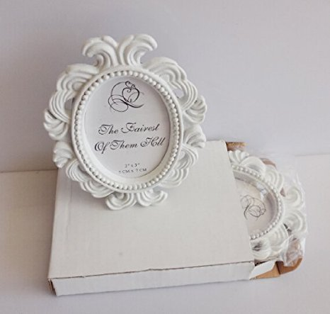 6116ebcb949 Image Unavailable. Image not available for. Color  TStoy Pack of 2pcs Mini  Oval Small Resin Photo Frame Wedding Name Holder Card Holder White