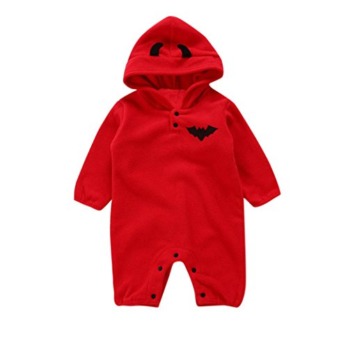 Fiaya Halloween Costume Toddler Infant Baby Girls & Boys Long Sleeve Hooded Bat Pumpkin Romper Jumpsuit Outfits for NB-24M (Red, 0-6 Months)