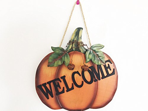 Wood Pumpkin Welcome Sign Harvest Fall Halloween Thanksgiving Hanging Wall Door Decoration