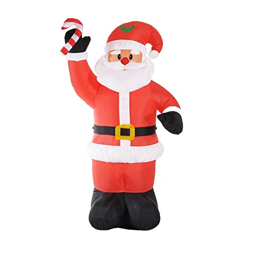 - HOMCOM 8' Outdoor LED Inflatable Christmas Lawn Decor - Santa with Candy Cane