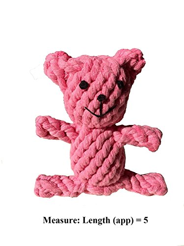 Reelok Chewing Rope Pink Bear Shape Cotton Toy for Small Dog Cat Pets