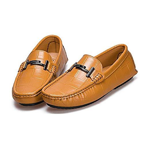 La Los Comodidad Caminar De Holgazanes Para Marrón Y Ocasionales Moda Barco Mocasines Cuero Zapatos Hombres Resbalones Yaxuan Del gIvUzwqxI