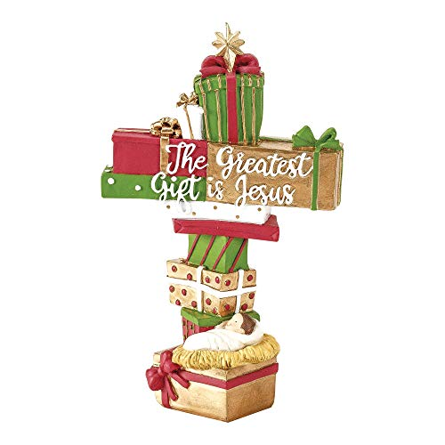 Dicksons The Greatest Gift is Jesus Red Green Goldtone 6 inch Resin Decorative Tree Topper (Tree Jesus Topper)