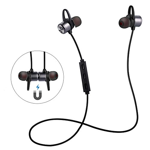 ESTAVEL Bluetooth Headphones IPX5 Level Bluetooth 4.1 Wireless Stereo with Microphone Sport Magnetic Headsets In-Ear Earphones for Other Smartphones or Bluetooth Devices (Black) by ESTAVEL