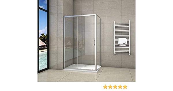 Cabina de Ducha Rectangular Puerta Corredera Cristal Templado 5 MM 140x80x190cm: Amazon.es: Bricolaje y herramientas