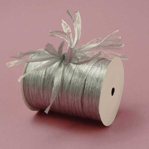 Silver Metallic Raffia Ribbon, 1/4
