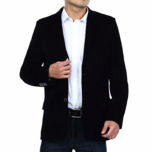 Men's Blazer Jacket Corduroy Sport Coat Smart Formal Dinner Cotton Jacket Slim Fit Two Button Notch Lapel Coat Black ()