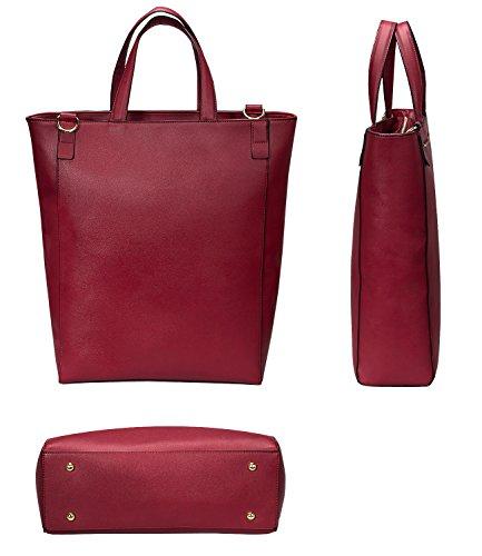 Estarer Damenhandtasche PU-Leder Handtasche Damen Laptoptasche 15,6 Zoll für Arbeit Uni Schwarz Rot Wein