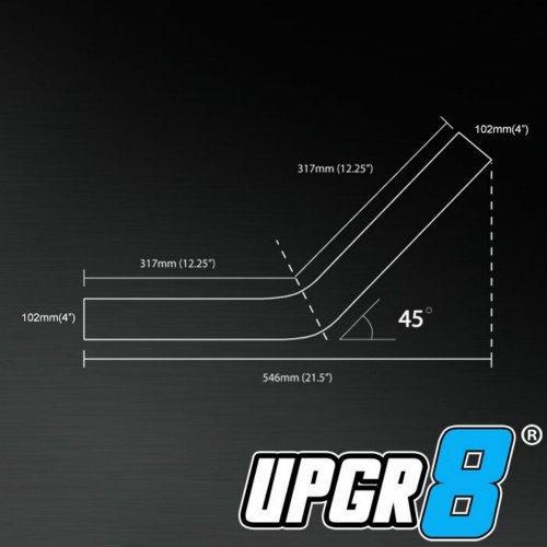 UPGR8 U8501-45-15 Universal Outside Diameter Polished Aluminum Pipe 1.5-Inch 38MM 45 Degree
