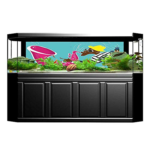 - Jiahong Pan Aquarium Decorative Groovy ian Saxophone Trumpet Vibes Sound Concert Art Pink Blue Aquarium Background Sticker Wallpaper L29.5 x H17.7