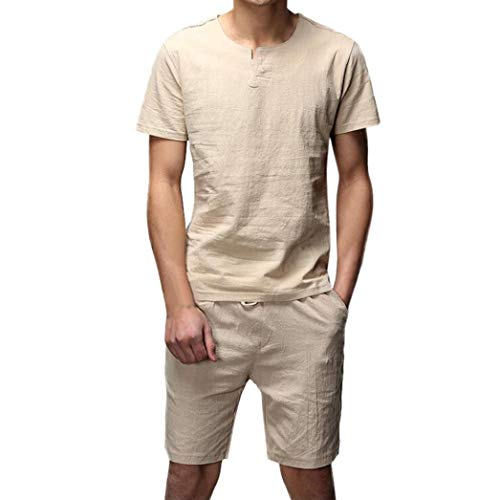 AKIMPE Two Pieces Men's Casual Slim Short Sleeve Shirt Top Blouse Pants Sets ()
