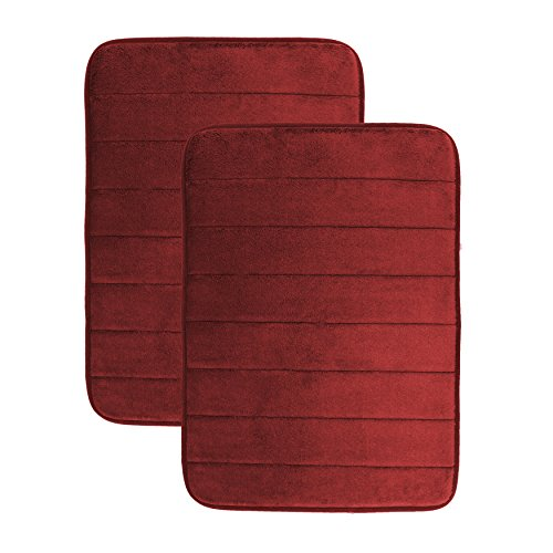 Luxor Linens - Memory Foam Bath Mat (17 x 25 inch) - Giovanni Line - Luxurious , Super Soft & Absorbent with Anti-Slip Backing - Available in a Wide Variety of Colors (2-Piece Set, (Chocolate Ground Wine)