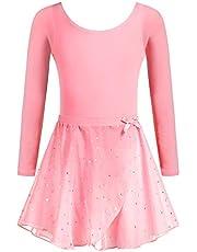 Zaclotre Girls Two-Piece Long Sleeve Ballet Dance Dress Glitter Tutu Skirted Leotard