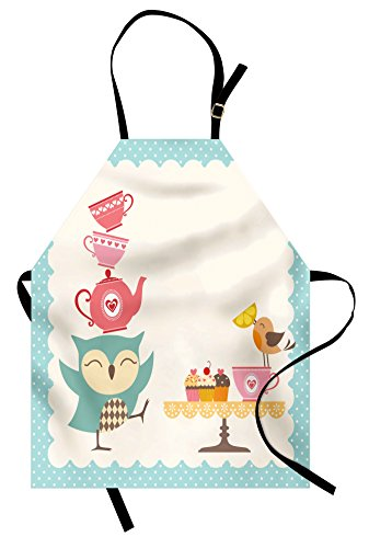 Lunarable Owl Apron, Owl at a Tea Party Bird Lemon Cupcakes Teacups Vintage Design Border Art Print, Unisex Kitchen Bib Apron with Adjustable Neck for Cooking Baking Gardening, White Blue Pink