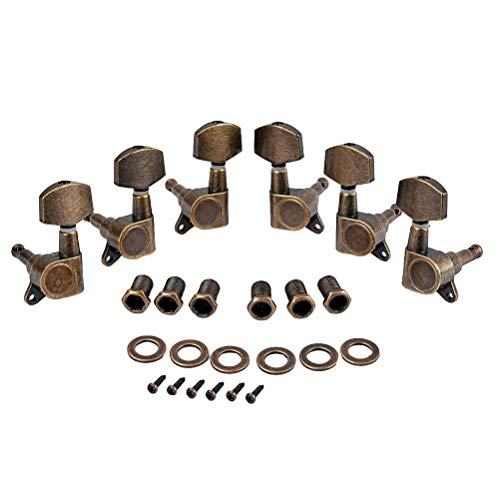 (Healifty Guitar tuners set machine heads bronze tuning pegs tuners for electric acoustic guitar 6pcs)