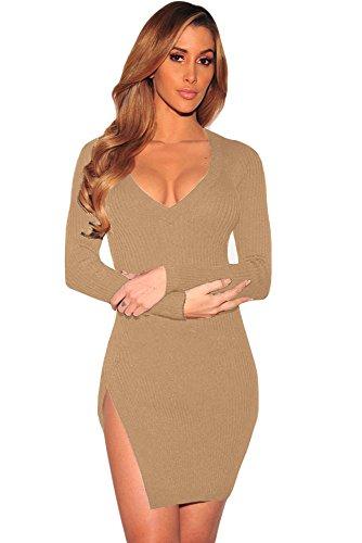 New acanalado Beige de la mujer cuello en V Jersey Vestido Oficina Vestido Casual noche fiesta wear tamaño UK 10–�?2EU 38–�?0