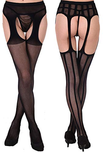 c71f4b648 Toptim Womens Fishnet Thigh-High Stockings Tights Suspender Pantyhose Socks  (Sets of 4) Black