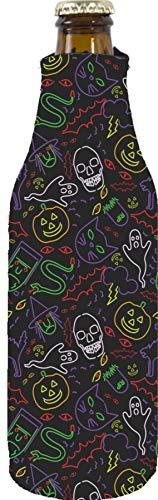 Halloween Beer Koozies (Halloween Neon Pattern Neoprene Zipper Beer Bottle Coolie)