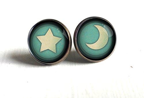 Teal Moon and Star Stud Earrings