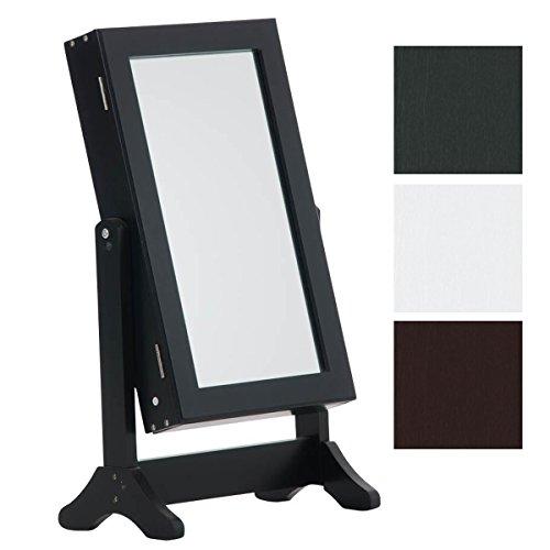 CLP Neigbarer Tisch Kosmetik-Spiegel, Schmuckschrank GINA - bis zu 3 Farben wählbar, Landhaus-Stil schwarz