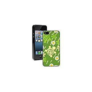 Apple iPhone 4 4S Black 4B592 Hard Back Case Cover Color Green Turtles Flowers Pattern