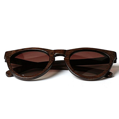 personalidad gafas de las de mano sol los de hechos a de madera bambú la para Gafas del Ojos de marco que de de Marrón conduce sol ULTRAVIOLETA Protección Gafa Retro Gafas Sunglasses sol hombres gato Beach fwCxzRqx