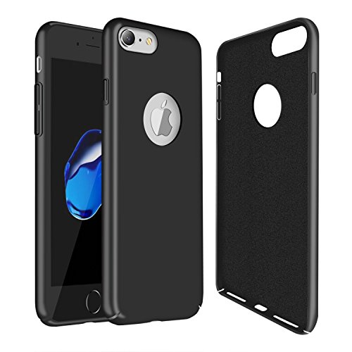 Molzar [Slim Fit Series] iPhone 7 Case, Matte Finish, Built-in Invisible Metal Plate, Designed for Magnetic Car Phone Holder, Compatible with Apple iPhone 7, Black