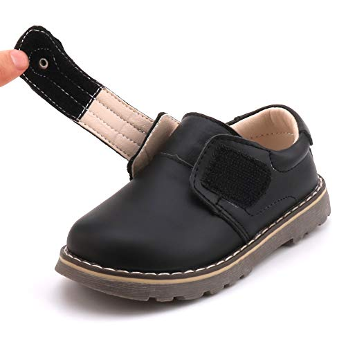 Femizee Toddler Boys Leather Loafers Comfort Uniform Oxford Dress Wedding Shoes, Black, 1327 CN25 by Femizee (Image #6)