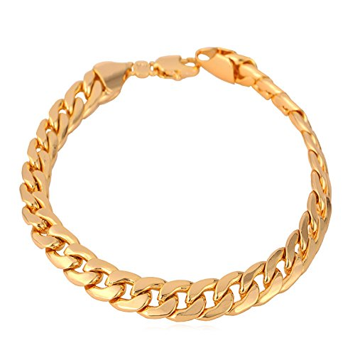 U7 Men 18K Gold Plated Classic 7mm Wide Cuban Link Chain Bracelet , 8.3""