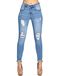 Womens Destroyed Ripped Distressed Skinny Jeans