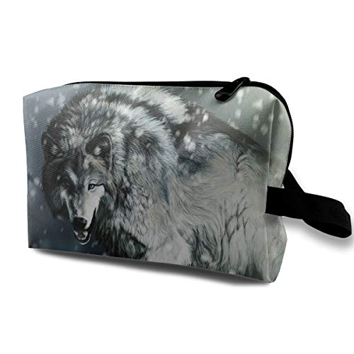 With Wristlet Cosmetic Bags White Snow Wolf Travel Portable Makeup Bag Zipper Wallet Hangbag ()