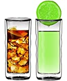 Sun's Tea(TM) 16oz Wave Strong Double Wall Thermo Glass Tumblers for Beer/Cocktail/Lemonade/Iced, Set of 2