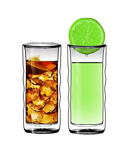 Sun's Tea(TM 16oz Wave Strong Double Wall Thermo Glass Tumblers for Beer/Cocktail/Lemonade/Iced, Set of - Wave Double Wall