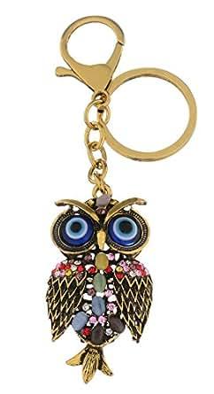 Giftale Owl Keychain for Women Cute Bag Charms Crystal Rhinestone Pendant Car Key Ring