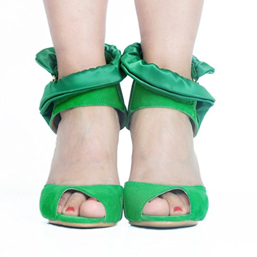 Kolnoo baile Peep Heel de Ladies Zapatos High Handmade Suede Toe D'Orsay Summer Verde Party Sandalias 171qSIr